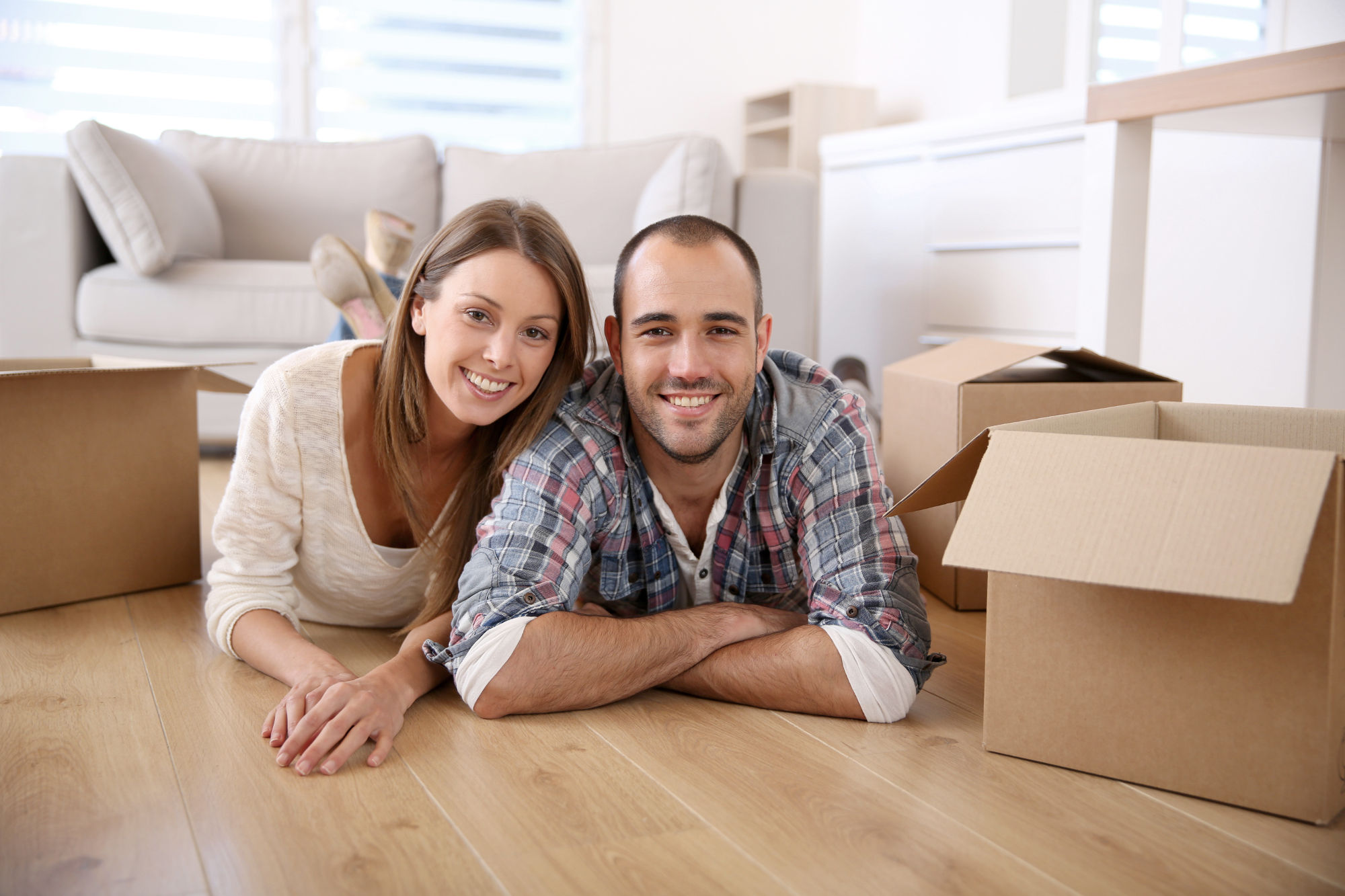 Couple moving into their new home